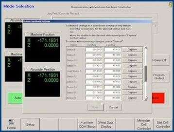 Cell Control Retrofits Station Coordinates Screen