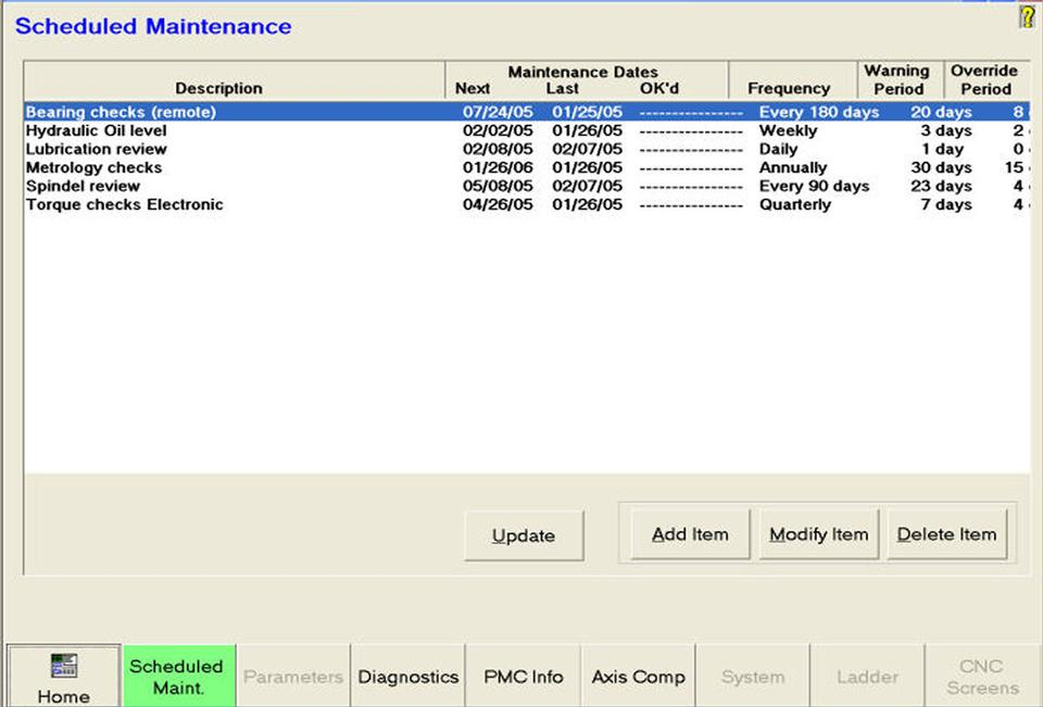 Open Vision™ Grind - Configurable PM Scheduler