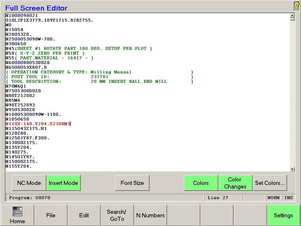 Open Vision™ Mill/Turn - Full Screen Editor