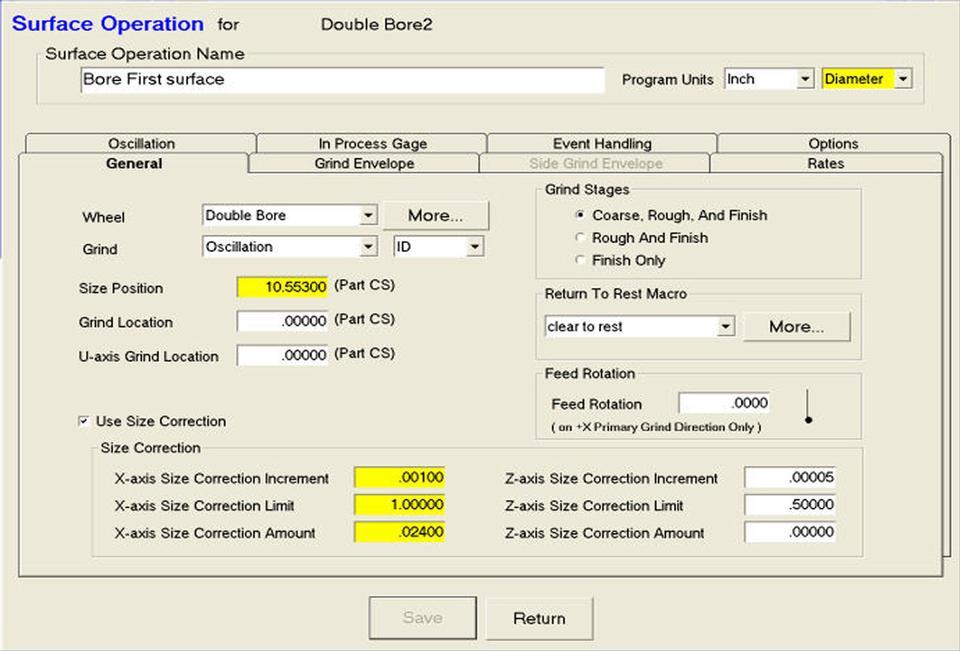 Open Vision™ Grind - Grind Information Database