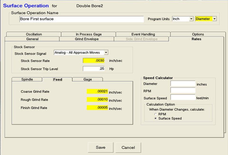Open Vision™ Grind - Grind Rate Database
