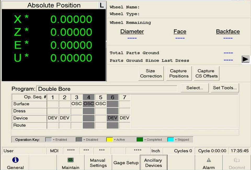 Open Vision™ Grind - Regrind Setup Screen