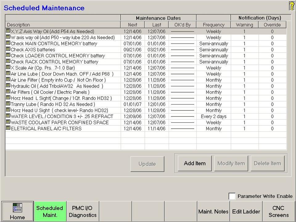 Open Vision™ Mill/Turn - Scheduled Maintenance