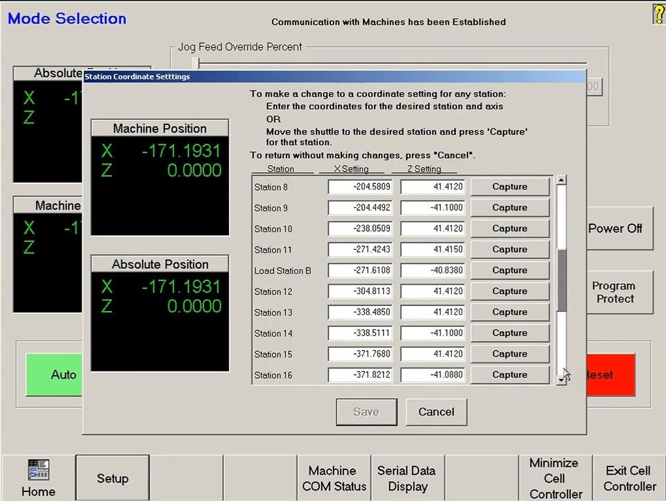 Cell Control - Station Coordinate Settings